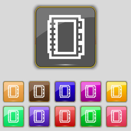 Book icon sign. Set with eleven colored buttons for your site. illustration