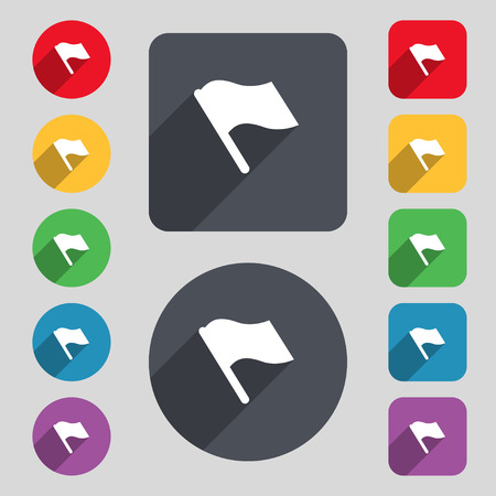 abort: Finish, start flag icon sign. A set of 12 colored buttons and a long shadow. Flat design. illustration