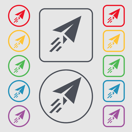 Paper airplane icon sign. symbol on the Round and square buttons with frame. illustration Stock Photo