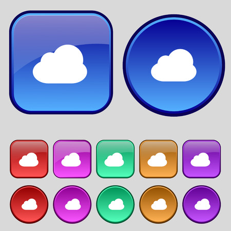 simplus: Cloud icon sign. A set of twelve vintage buttons for your design. illustration