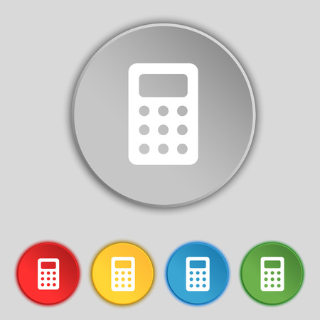 bookkeeping: Calculator, Bookkeeping icon sign. Symbol on five flat buttons. illustration Stock Photo