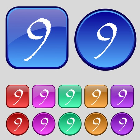 number nine: number Nine icon sign. Set of coloured buttons. illustration