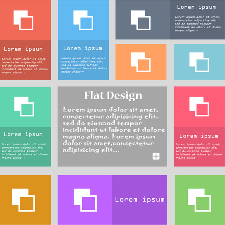 photoshop: Active color toolbar icon sign. Set of multicolored buttons. Metro style with space for text. The Long Shadow illustration Stock Photo