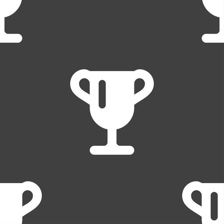 awarding: Winner cup, Awarding of winners, Trophy icon sign. Seamless pattern on a gray background. illustration