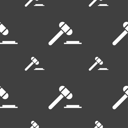 criminal case: judge hammer icon. Seamless pattern on a gray background. illustration