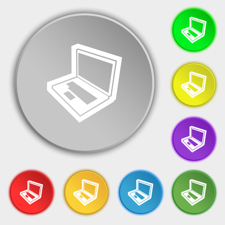 computer keyboard: Laptop icon sign. Symbol on eight flat buttons. illustration Stock Photo