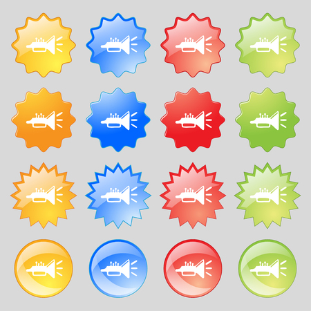 brass instrument: trumpet, brass instrument icon sign. Set from fourteen multi-colored glass buttons with place for text. illustration