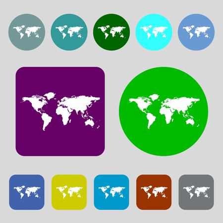 geography: Globe sign icon. World map geography symbol.12 colored buttons. Flat design. illustration