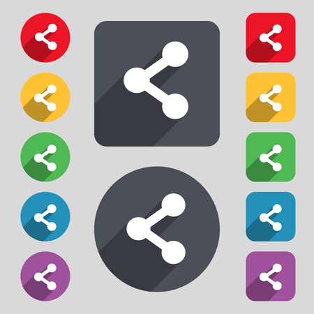 regular tetragon: Share icon sign. A set of 12 colored buttons and a long shadow. Flat design. illustration