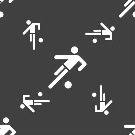 linesman: football player icon. Seamless pattern on a gray background. illustration
