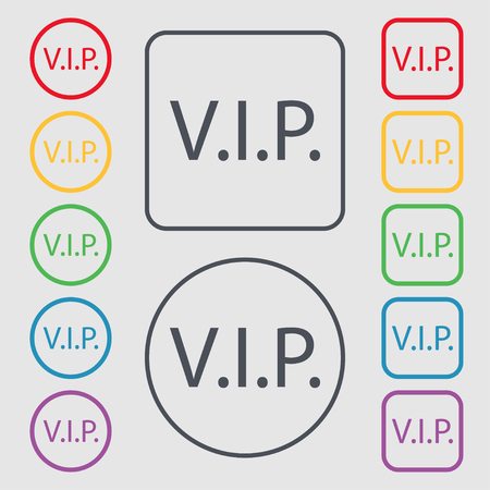 very important person: Vip sign icon. Membership symbol. Very important person. Symbols on the Round and square buttons with frame. illustration