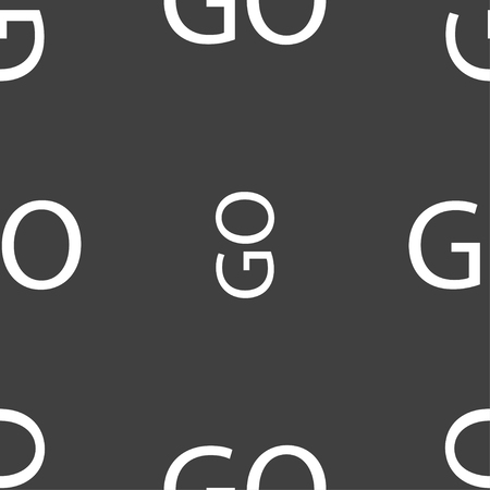 proceed: GO sign icon. Seamless pattern on a gray background. illustration