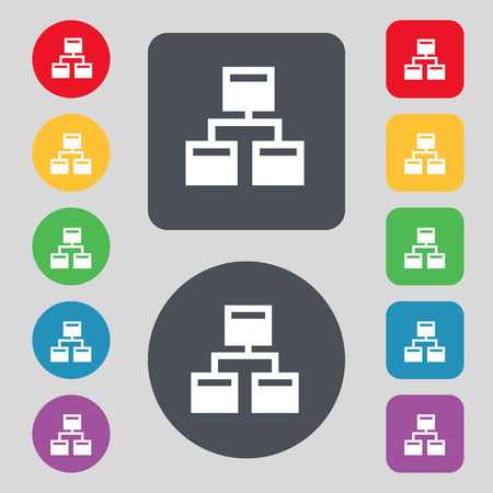 Local Network icon sign. A set of 12 colored buttons. Flat design. illustration Stok Fotoğraf