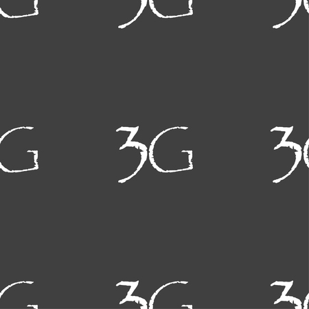 3g: 3G sign icon. Mobile telecommunications technology symbol. Seamless pattern on a gray background. illustration Stock Photo