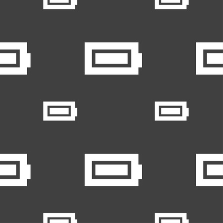 fully: Battery fully charged icon sign. Seamless pattern on a gray background. illustration Stock Photo