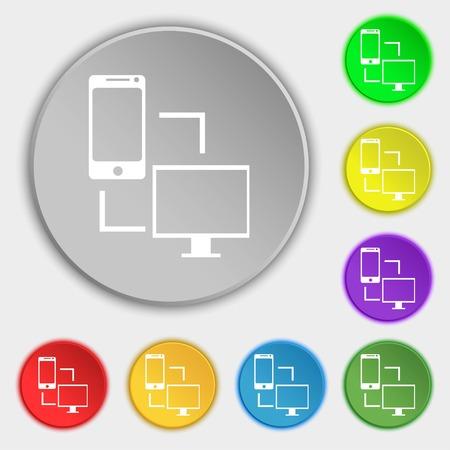 sync: Synchronization sign icon. communicators sync symbol. Data exchange. Symbols on eight flat buttons. illustration Stock Photo