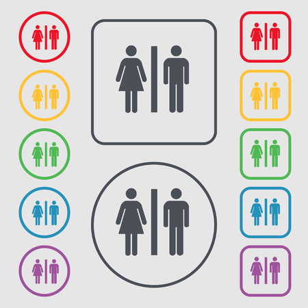 gents: silhouette of a man and a woman icon sign. symbol on the Round and square buttons with frame. illustration