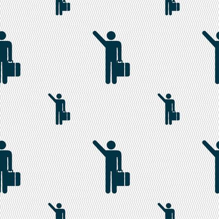 tourist icon: tourist icon sign. Seamless pattern with geometric texture. illustration Stock Photo