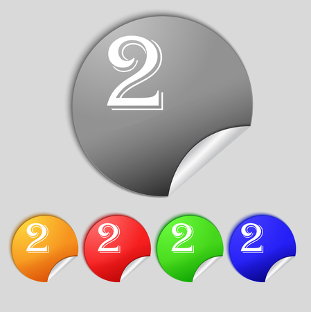 second: Second place award sign. Winner symbol. Step two. Set of coloured buttons. illustration Stock Photo