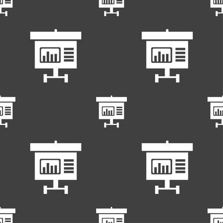 grow money: Graph icon sign. Seamless pattern on a gray background. illustration