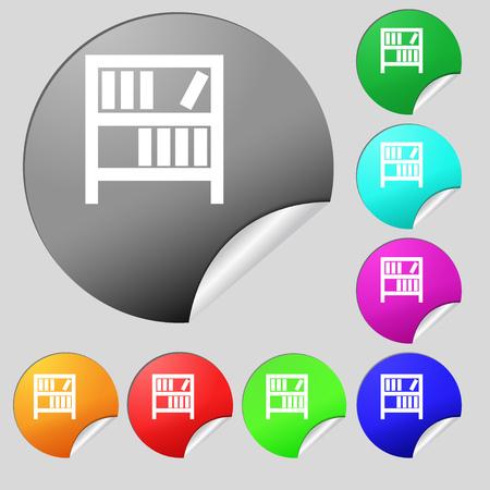 encyclopedias: Bookshelf icon sign. Set of eight multi colored round buttons, stickers. illustration Stock Photo