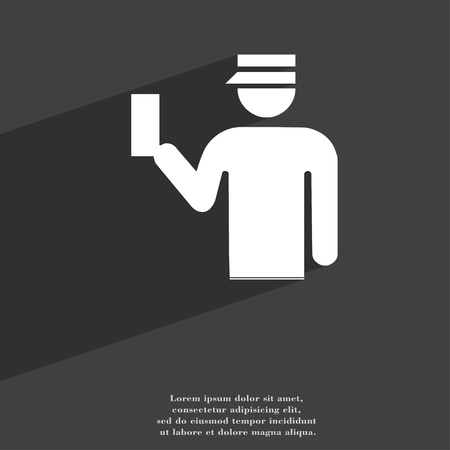 inspector: Inspector icon symbol Flat modern web design with long shadow and space for your text. illustration