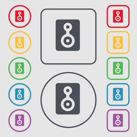 vcr: Video Tape icon sign. symbol on the Round and square buttons with frame. illustration Stock Photo