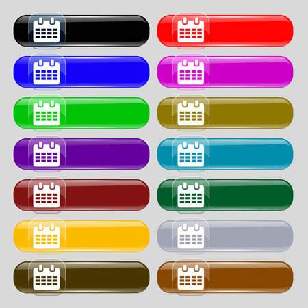 reminder icon: Calendar, Date or event reminder  icon sign. Set from fourteen multi-colored glass buttons with place for text. illustration Stock Photo