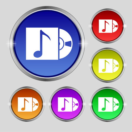 cd player: cd player icon sign. Round symbol on bright colourful buttons. illustration