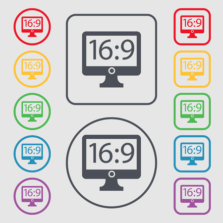 the ratio: Aspect ratio 16:9 widescreen tv icon sign. Symbols on the Round and square buttons with frame. illustration