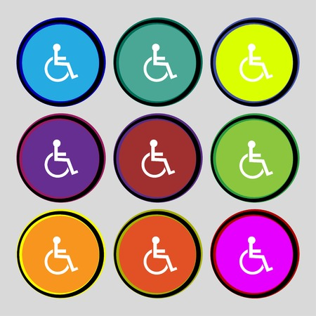 invalid: Disabled sign icon. Human on wheelchair symbol. Handicapped invalid sign. Set colourful buttons illustration Stock Photo