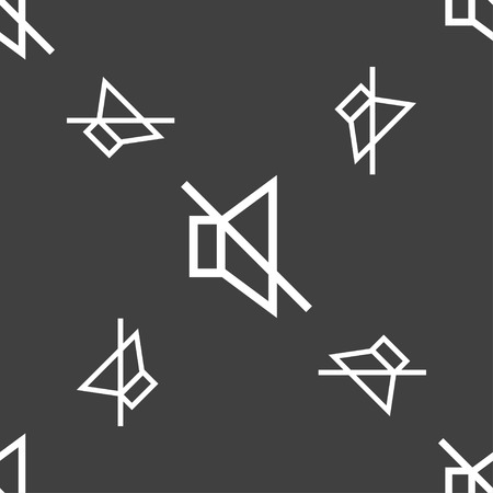 tech no: without sound, mute icon sign. Seamless pattern on a gray background. illustration