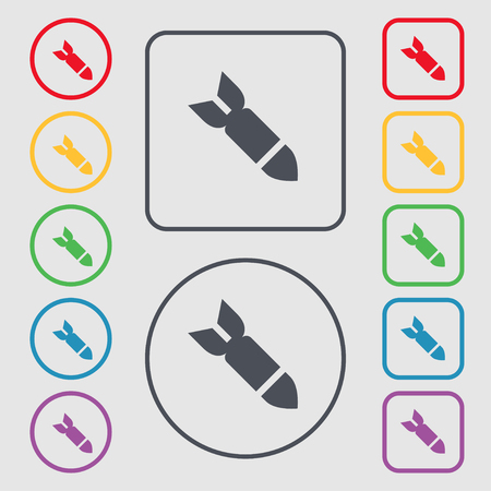 ballistic missile: Missile,Rocket weapon icon sign. symbol on the Round and square buttons with frame. illustration