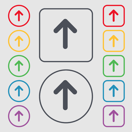 this side up: Arrow up, This side up icon sign. symbol on the Round and square buttons with frame. illustration