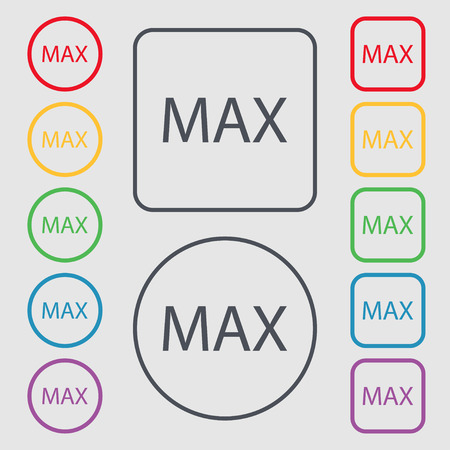 extremity: maximum sign icon. Symbols on the Round and square buttons with frame. illustration