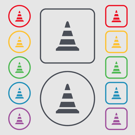 traffic pylon: road cone icon. Symbols on the Round and square buttons with frame. illustration