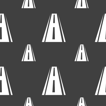 bitumen: Road icon sign. Seamless pattern on a gray background. illustration Stock Photo