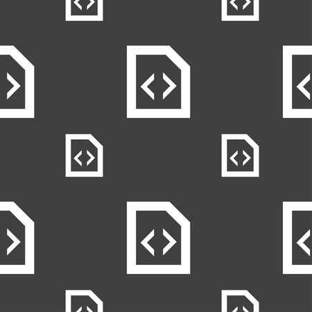 programming code: Programming code icon sign. Seamless pattern on a gray background. illustration Stock Photo