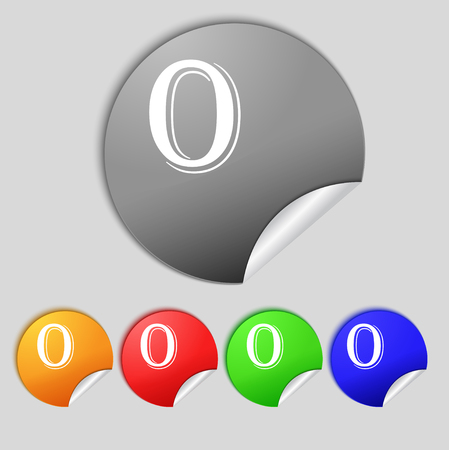 zero: number zero icon sign. Set of coloured buttons. illustration
