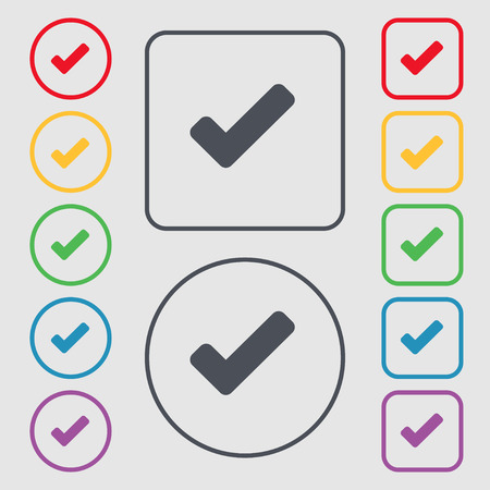 tik: Check mark, tik icon sign. symbol on the Round and square buttons with frame. illustration