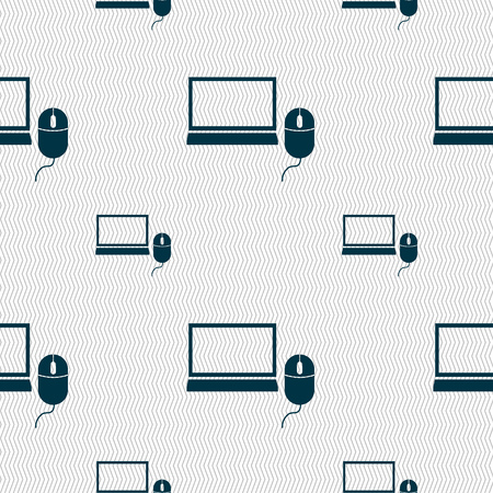 ico: Computer widescreen monitor, mouse sign ico. Seamless pattern with geometric texture. illustration Stock Photo