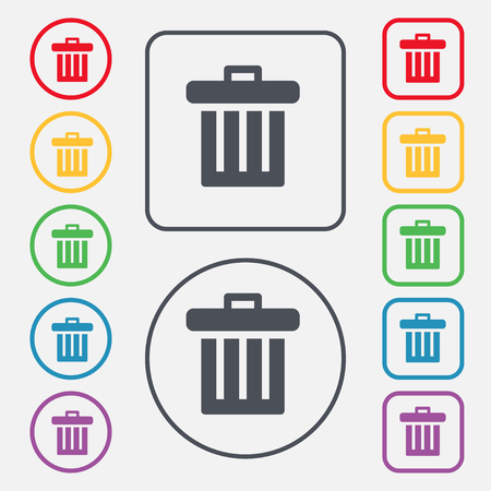 utilize: Recycle bin icon sign. symbol on the Round and square buttons with frame. illustration