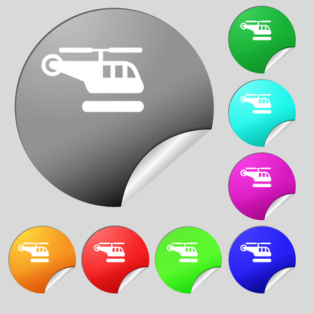 fuselage: helicopter icon sign. Set of eight multi colored round buttons, stickers. illustration Stock Photo