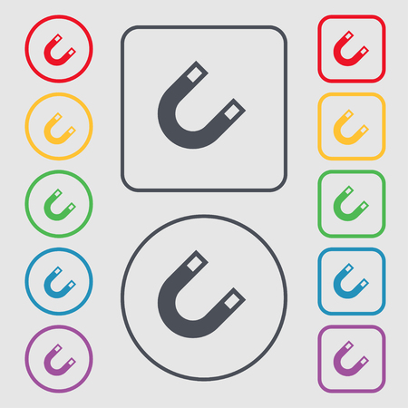 electromagnetic field: magnet, horseshoe icon sign. symbol on the Round and square buttons with frame. illustration