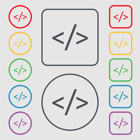 hypertext: Code sign icon. Programming language symbol. Symbols on the Round and square buttons with frame. illustration