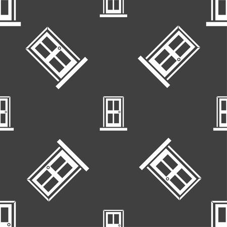 doorknob: Door icon sign. Seamless pattern on a gray background. illustration