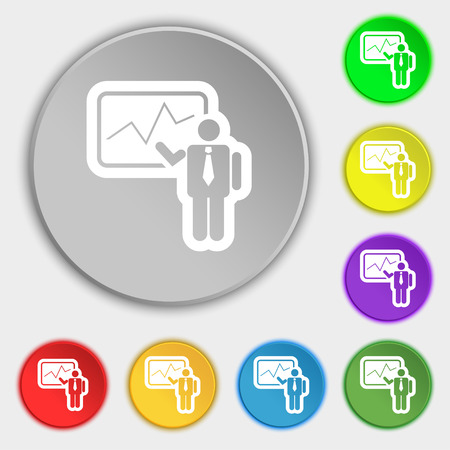 sign making: businessman making report icon sign. Symbol on eight flat buttons. illustration