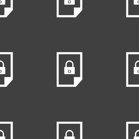 lockout: File locked icon sign. Seamless pattern on a gray background. illustration