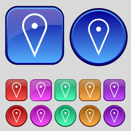 web portal: map poiner icon sign. A set of twelve vintage buttons for your design. illustration Stock Photo
