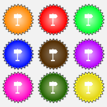 designator: Signpost icon sign. A set of nine different colored labels. illustration Stock Photo